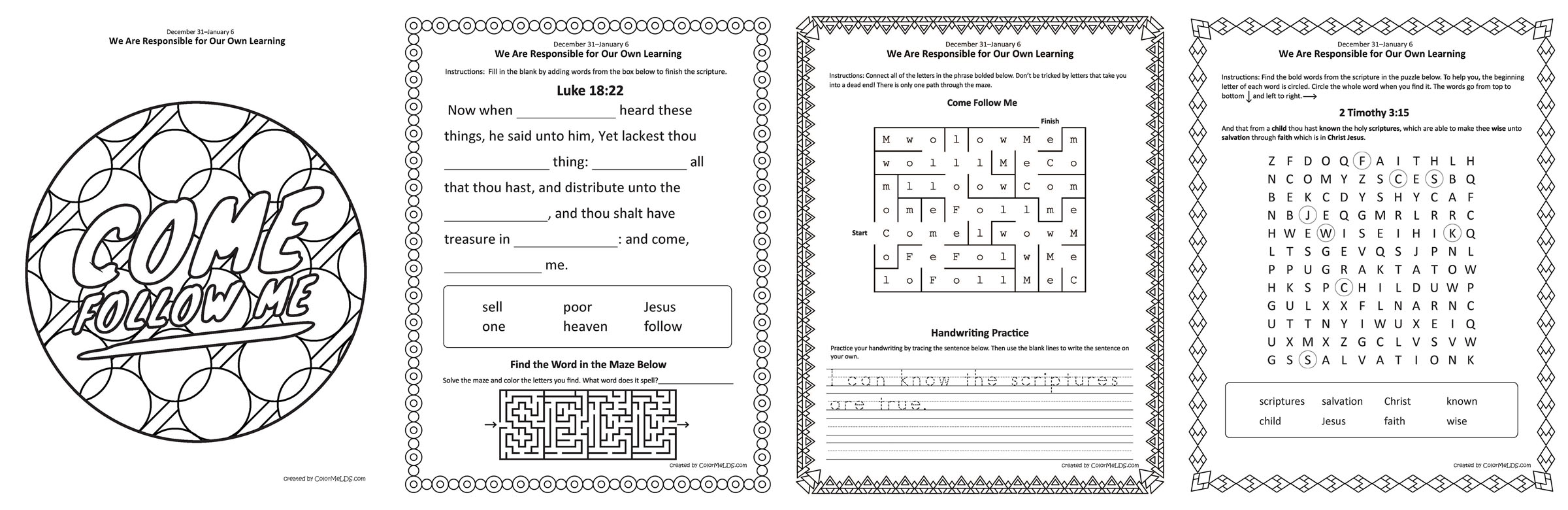 Come Follow Me 2019 Junior Primary Worksheets Colormelds